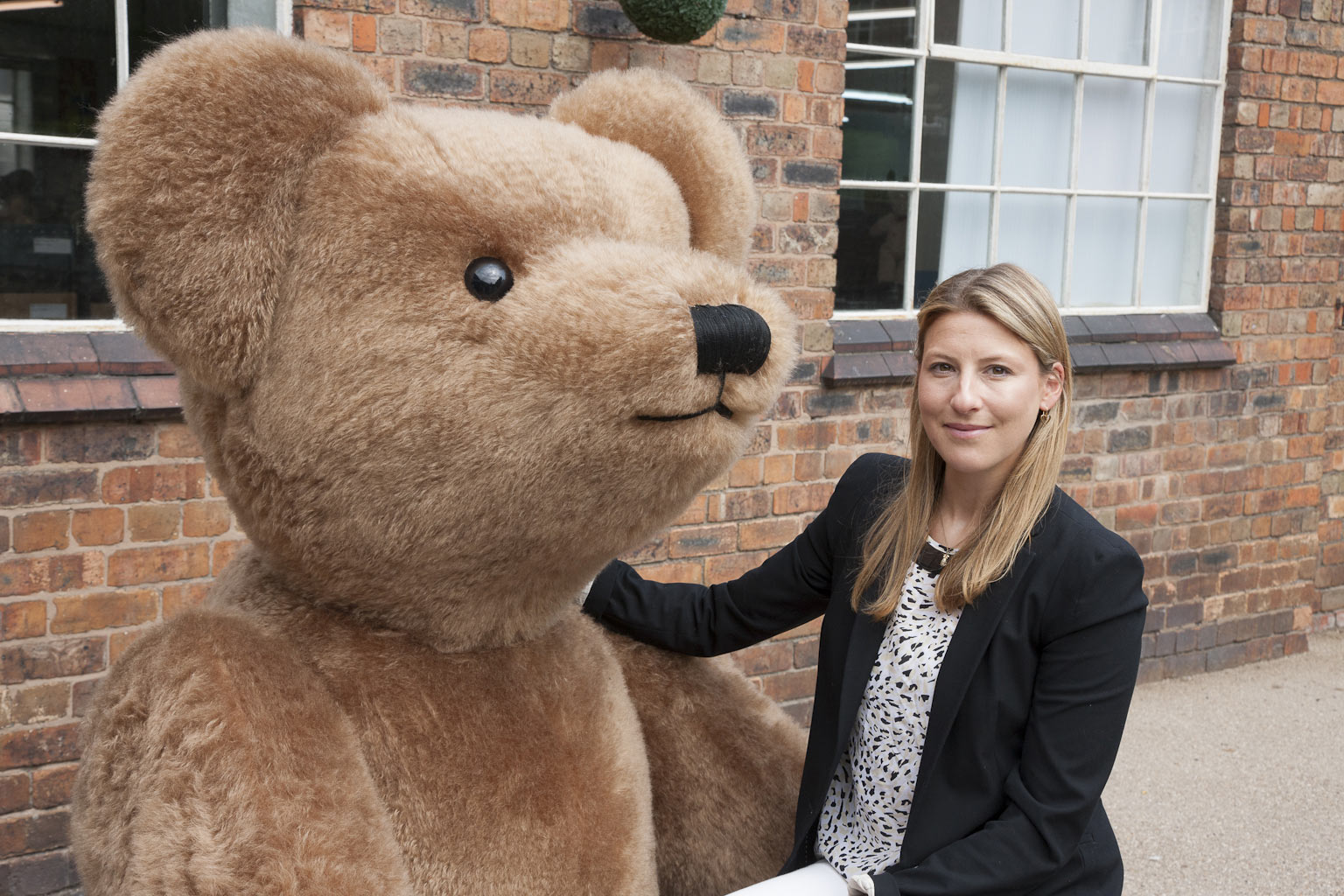 Sarah Holmes and large Display Bear